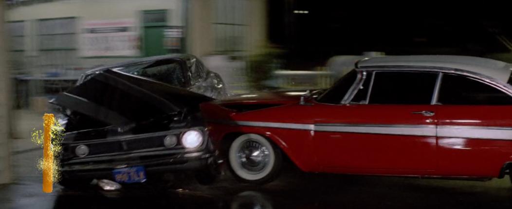 Christine pushing Camaro