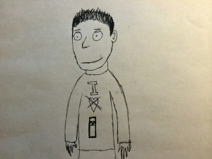 cartoon man with bollard shirt