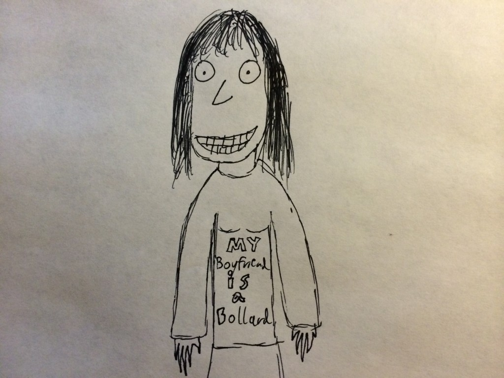 cartoon woman with bollard shirt