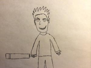 cartoon man with a bollard bat sword