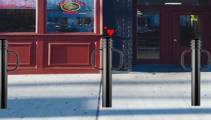 storefront bollard embarrassed and in love